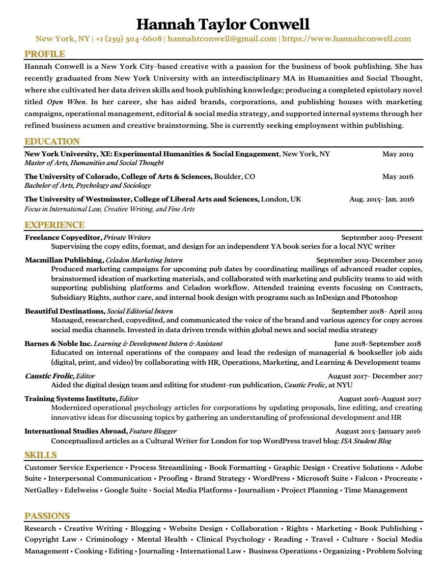 Resume Updated February 2020